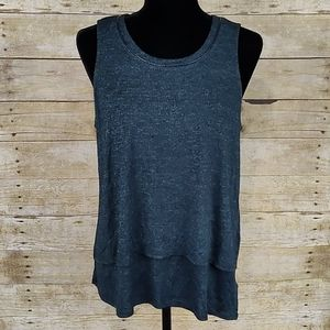 Splendid Layered Tank With Faux Leather Trim
